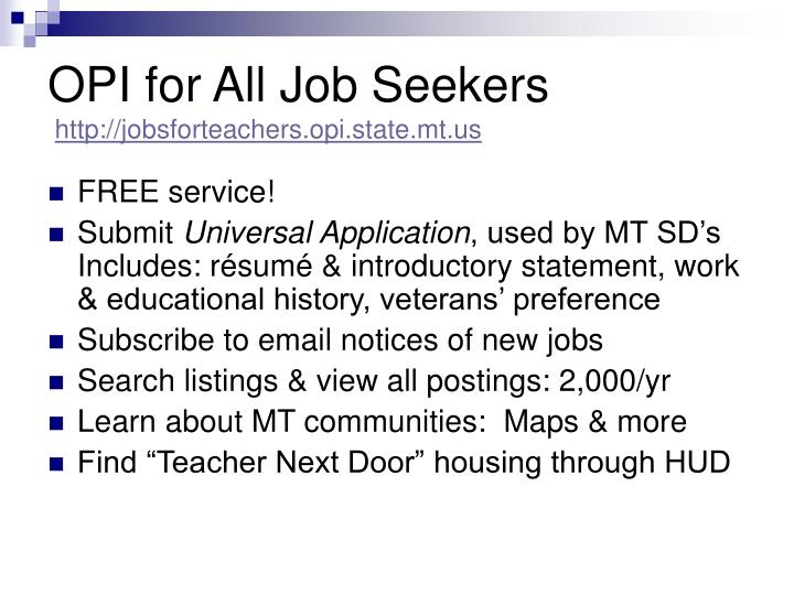 OPI for All Job Seekers