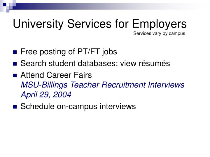 University Services for Employers