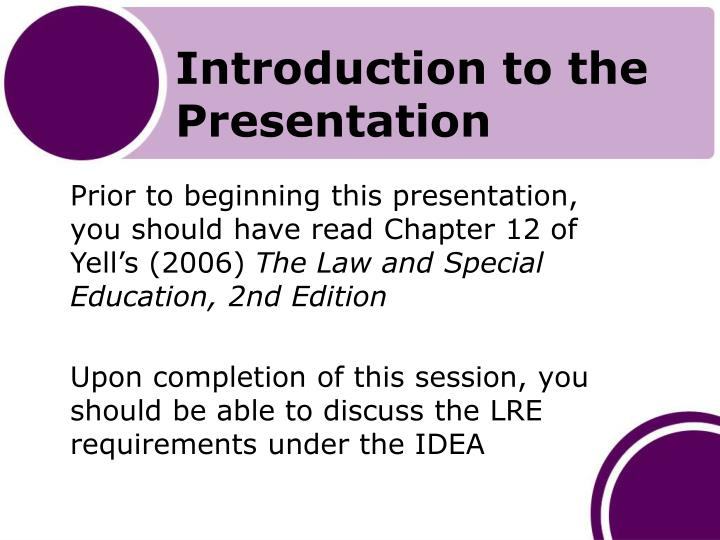 Introduction to the presentation