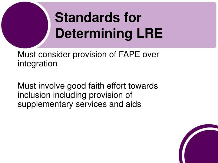 Standards for Determining LRE