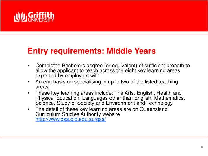 Entry requirements: Middle Years