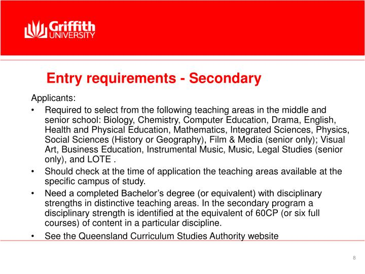 Entry requirements - Secondary