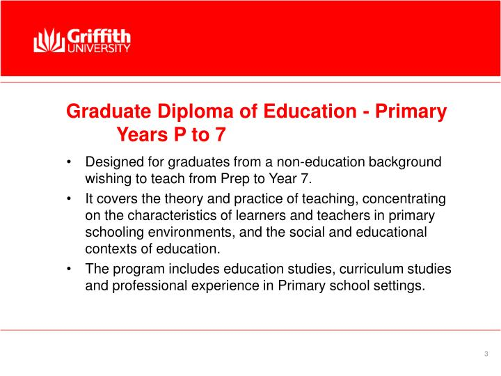 Graduate diploma of education primary years p to 7