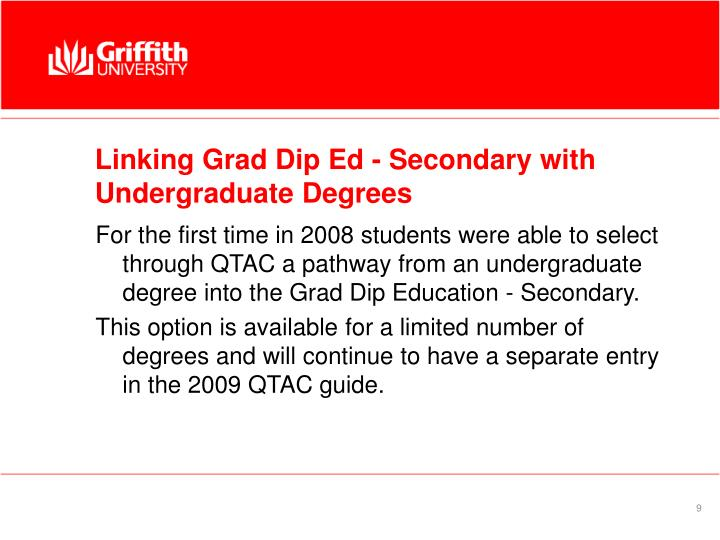 Linking Grad Dip Ed - Secondary with Undergraduate Degrees