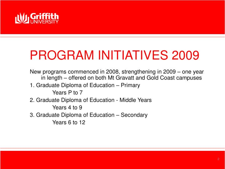 Program initiatives 2009