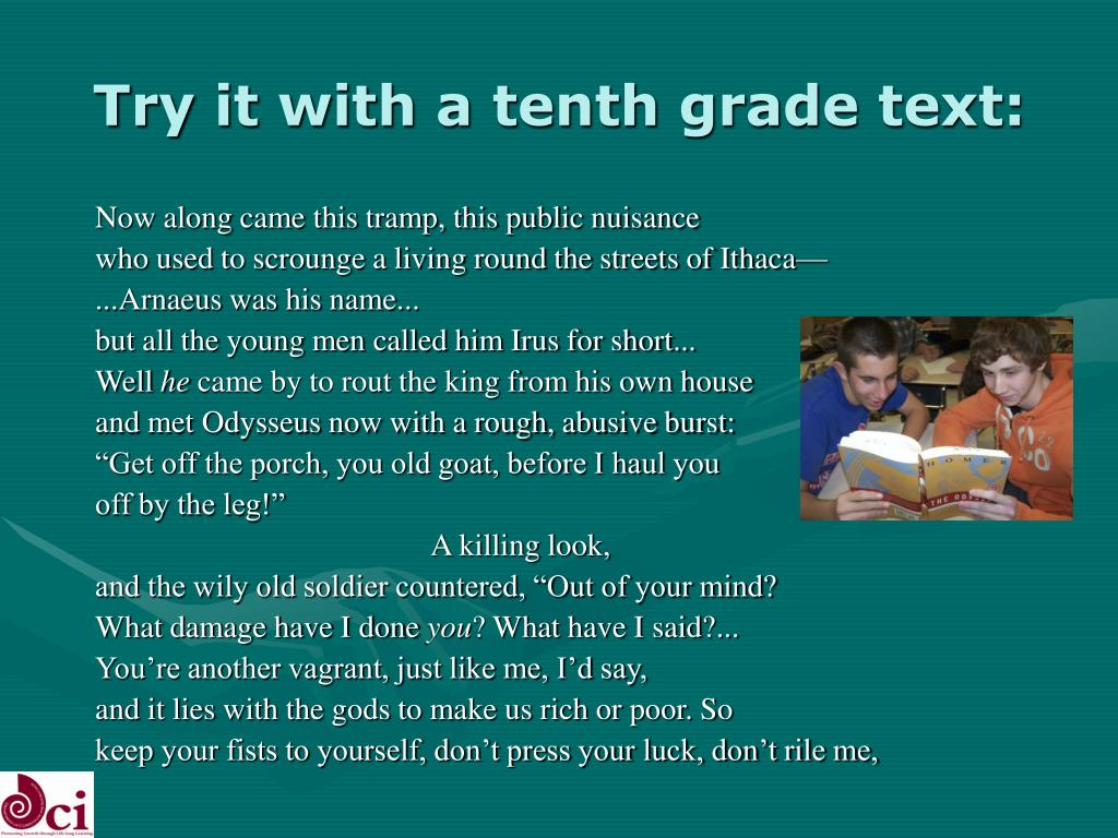 Try it with a tenth grade text:
