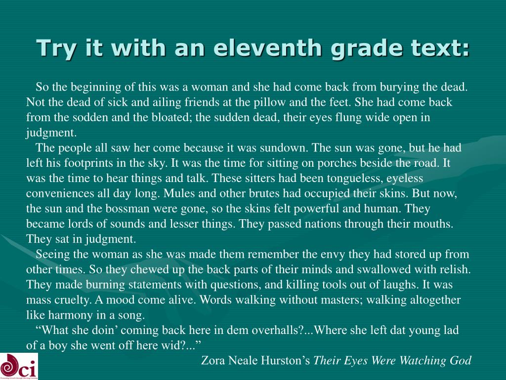 Try it with an eleventh grade text: