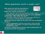 what questions could a reader ask14