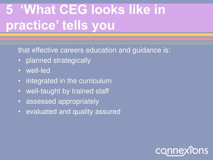 5  'What CEG looks like in practice' tells you