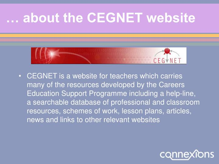 … about the CEGNET website