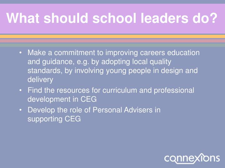 What should school leaders do?