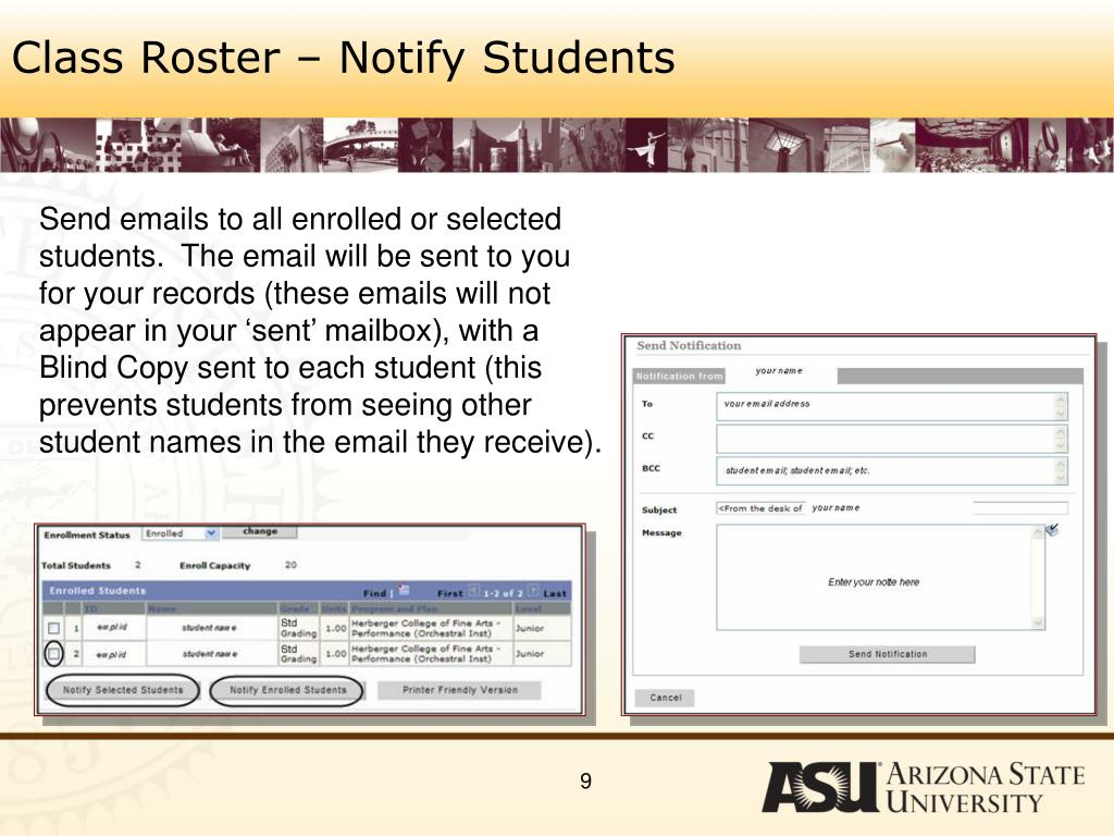 Class Roster – Notify Students