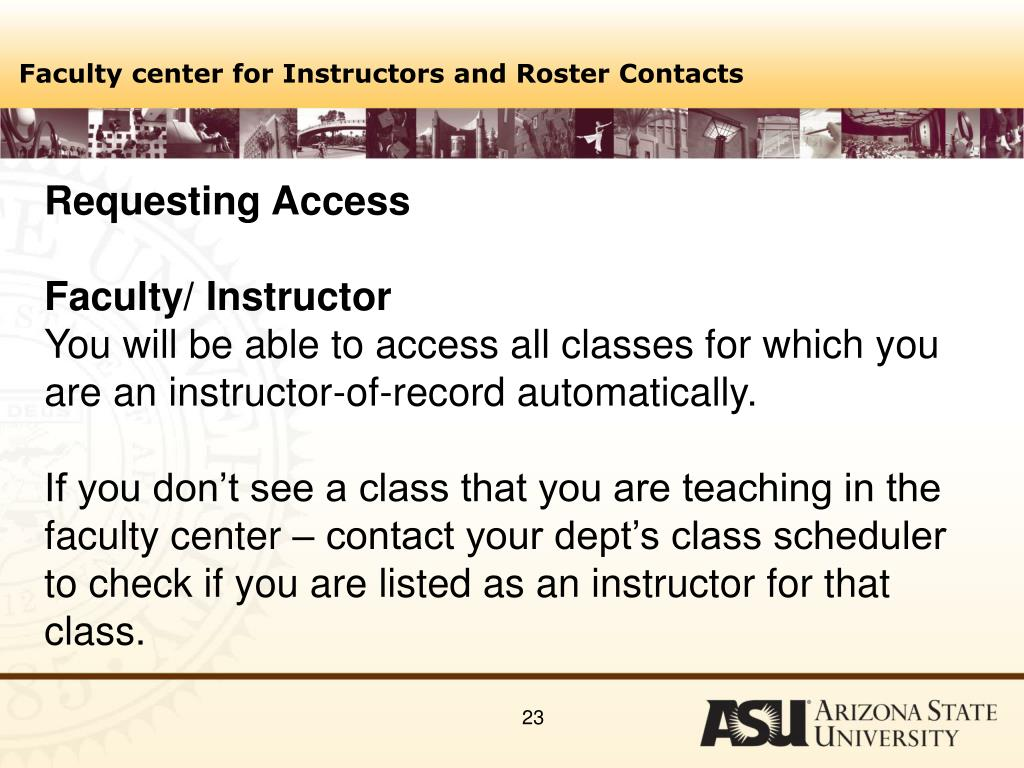 Faculty center for Instructors and Roster Contacts