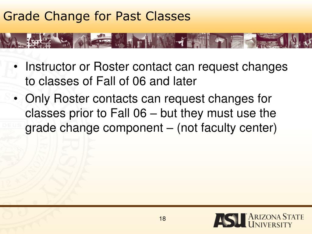 Grade Change for Past Classes