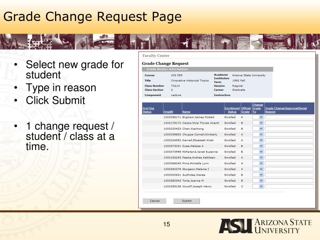 Grade Change Request Page