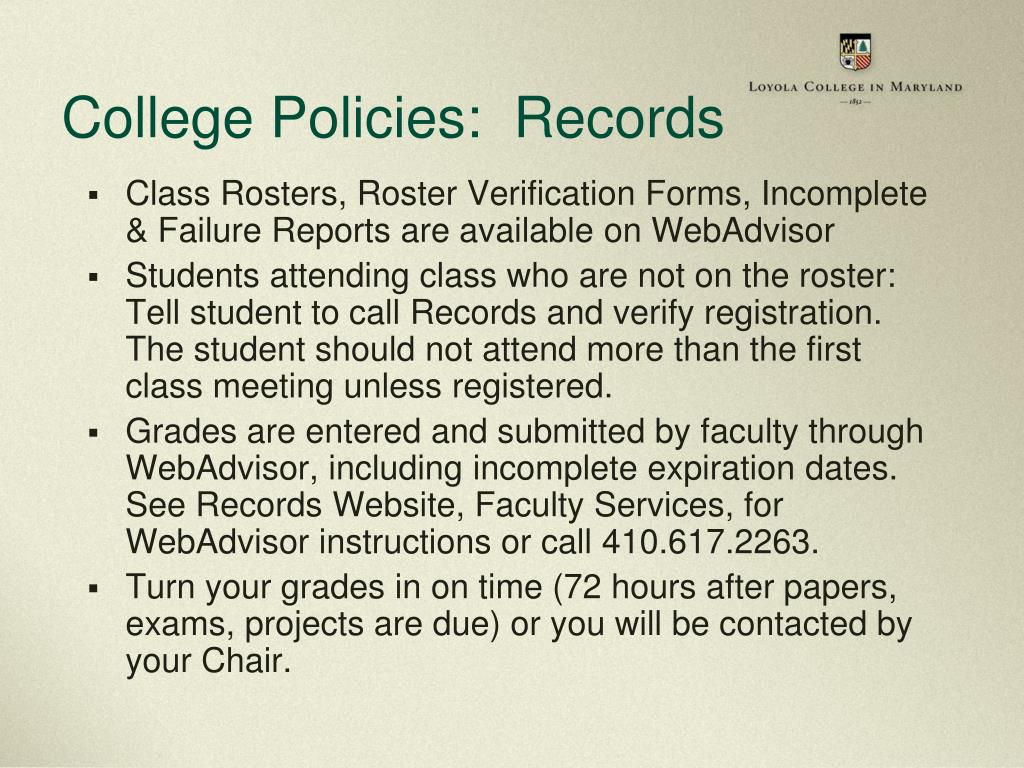 College Policies:  Records