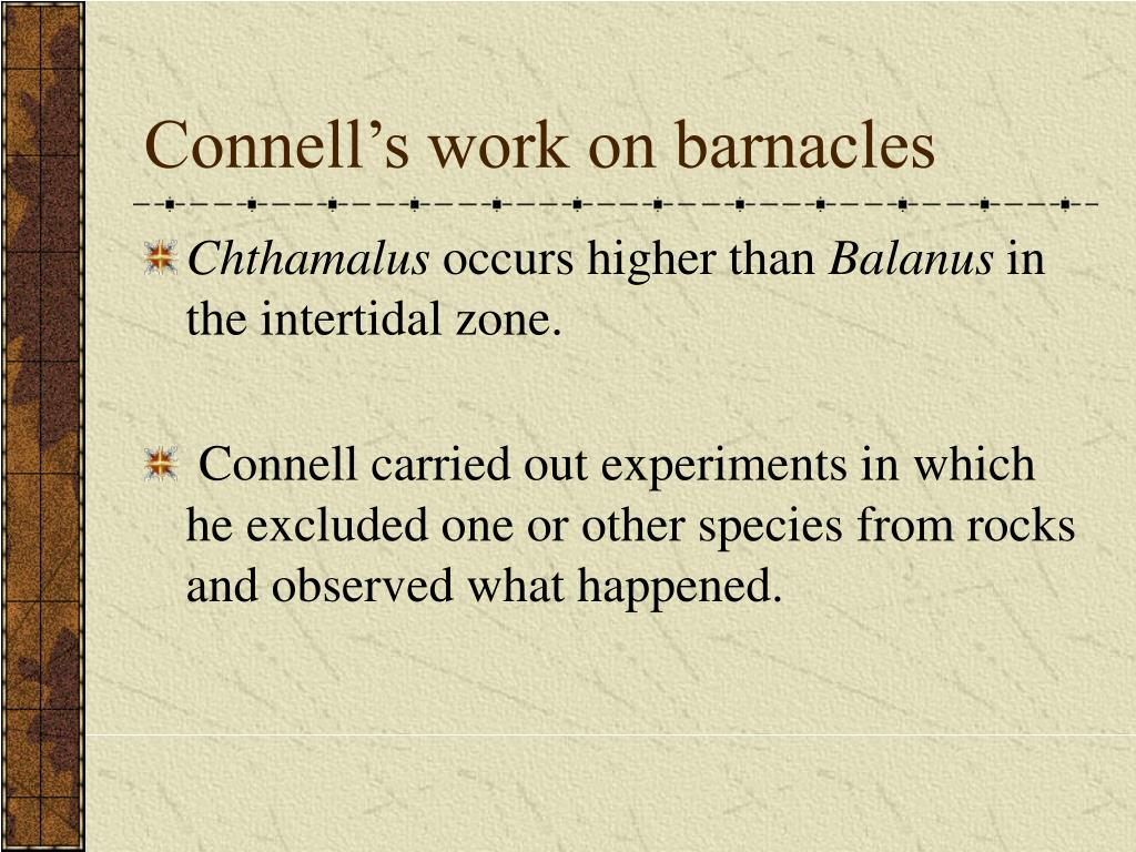 Connell's work on barnacles