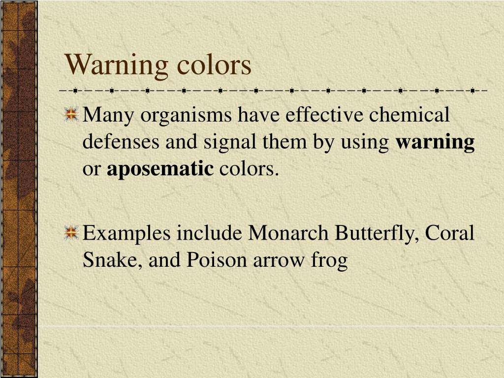 Warning colors