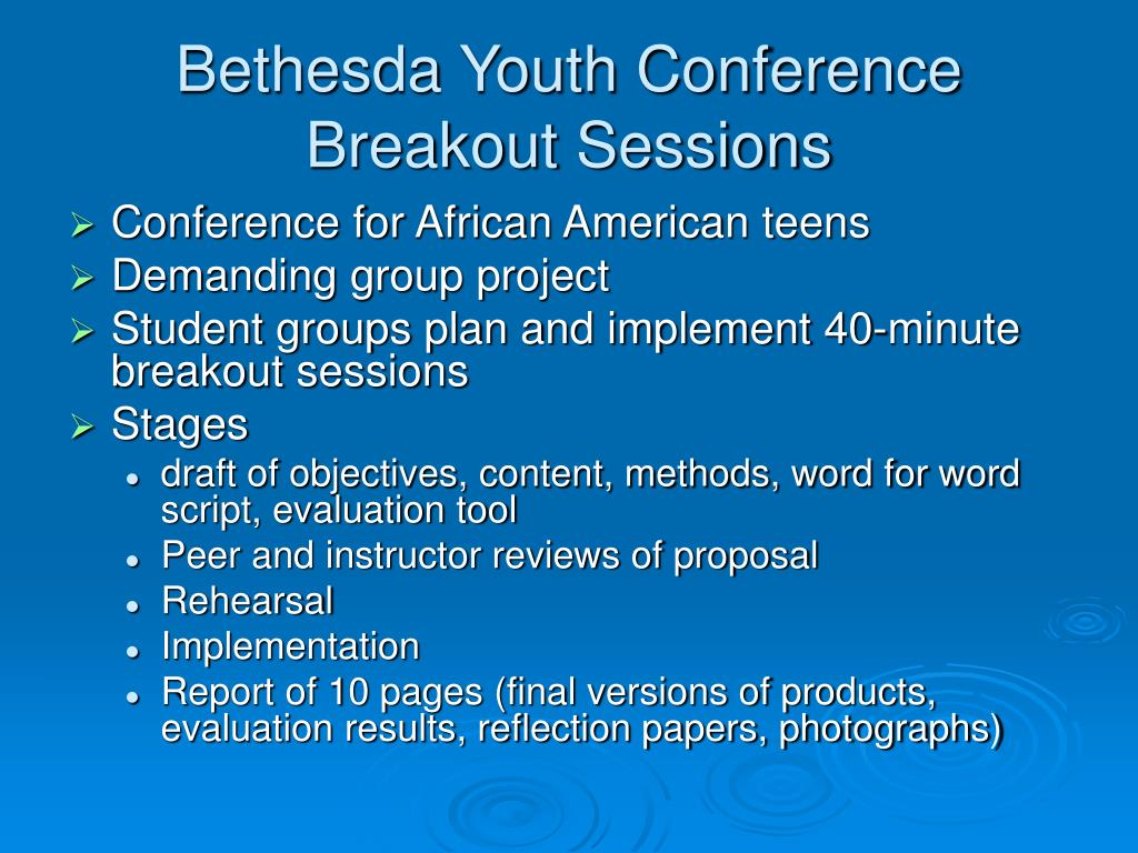 Bethesda Youth Conference Breakout Sessions