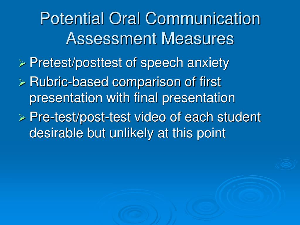Potential Oral Communication Assessment Measures