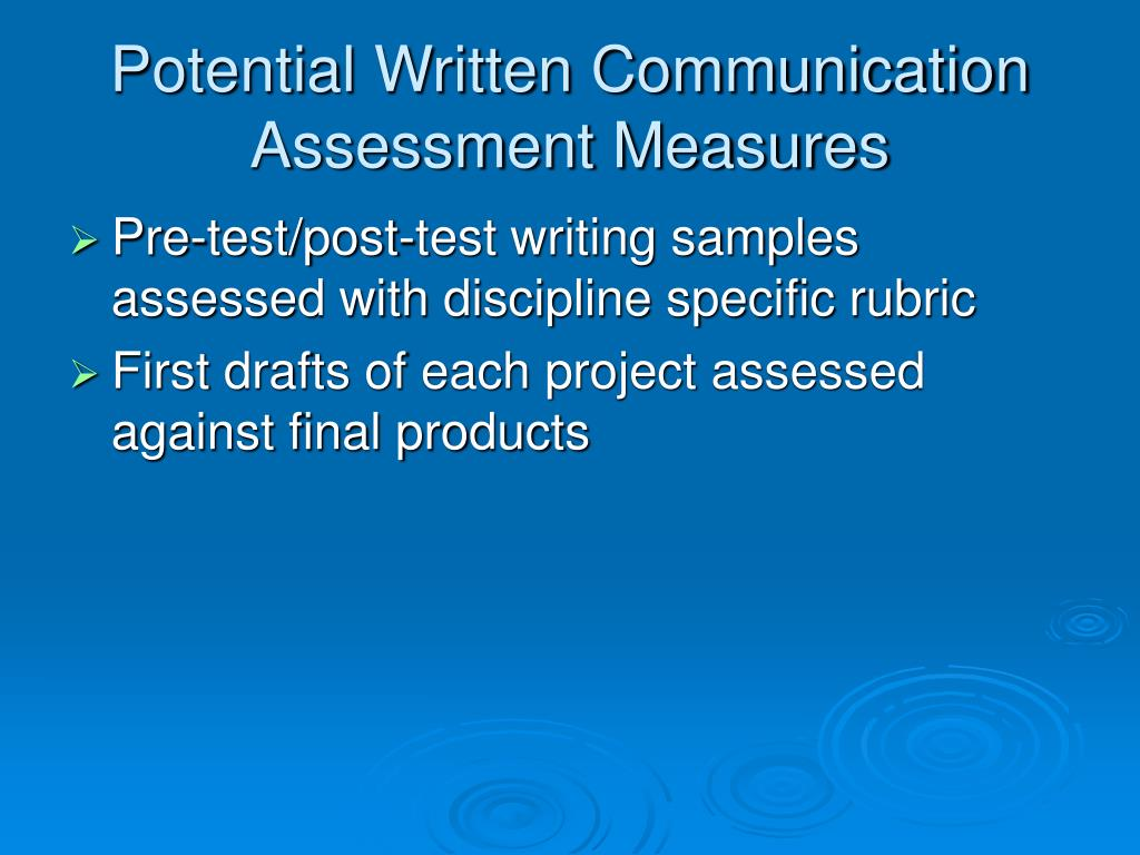 Potential Written Communication Assessment Measures