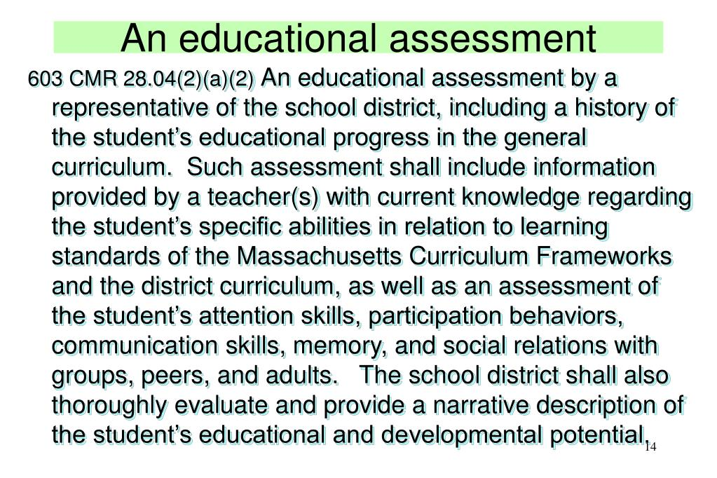 An educational assessment