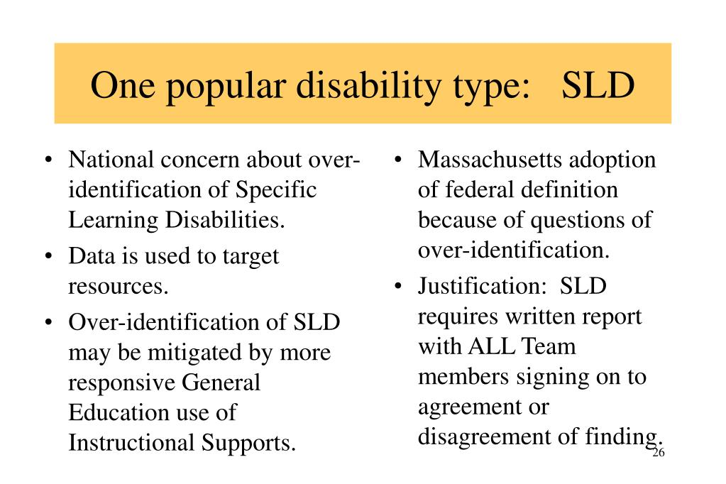 National concern about over-identification of Specific Learning Disabilities.