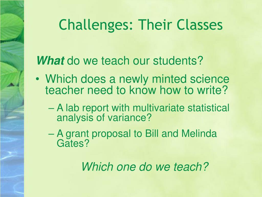 Challenges: Their Classes