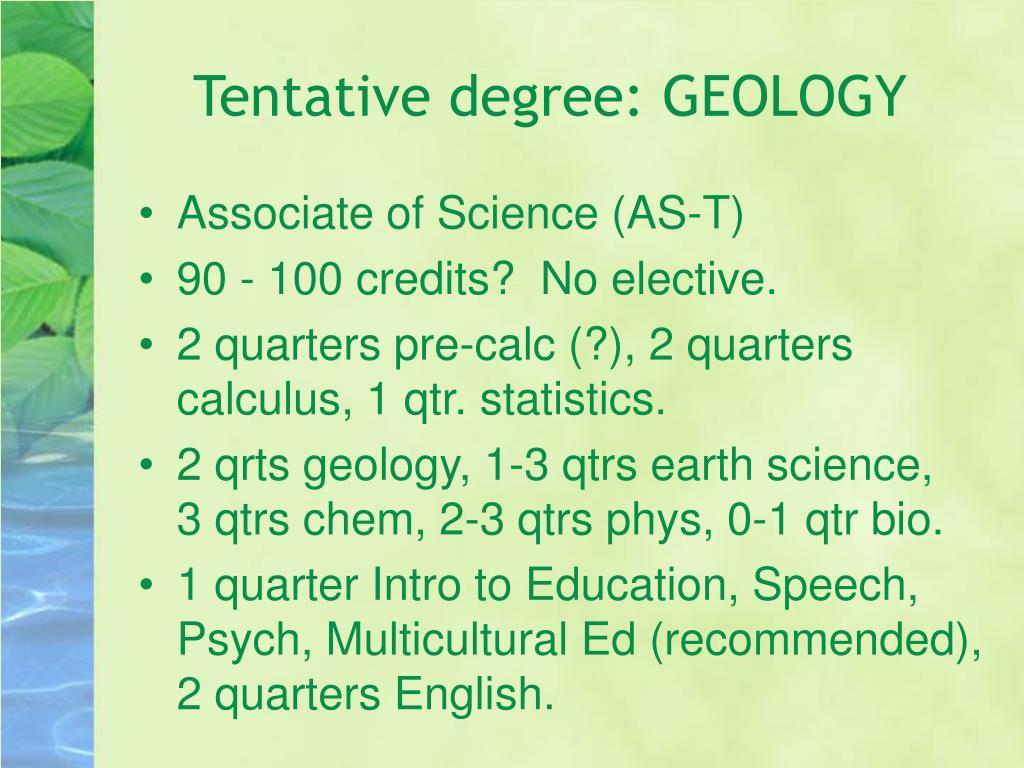 Tentative degree: GEOLOGY