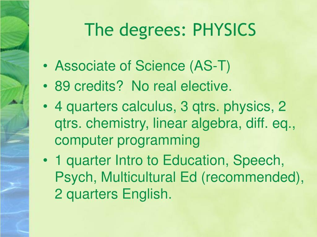 The degrees: PHYSICS
