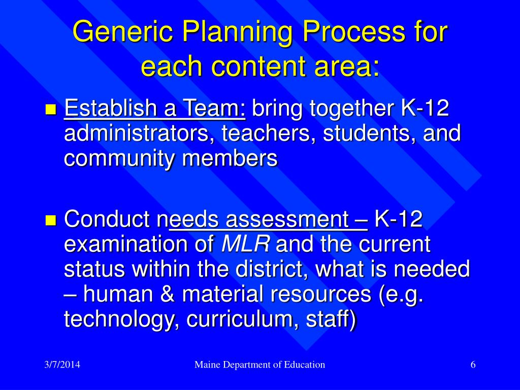 Generic Planning Process for each content area: