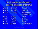 k 12 student enrollment in specific language programs