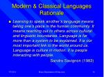 modern classical languages rationale
