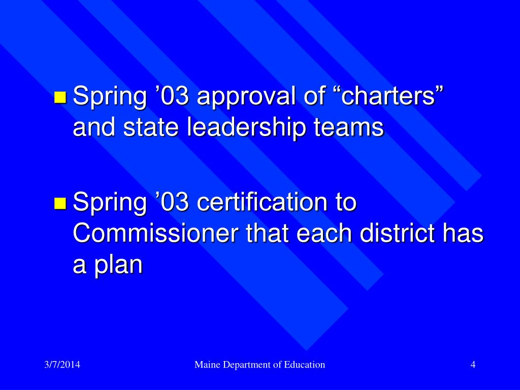 "Spring '03 approval of ""charters"" and state leadership teams"
