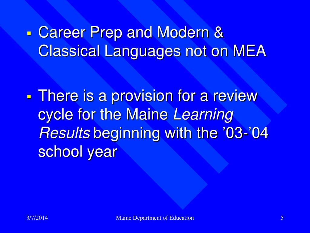 Career Prep and Modern & Classical Languages not on MEA