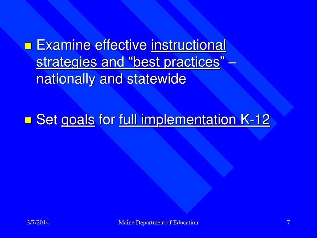 Examine effective