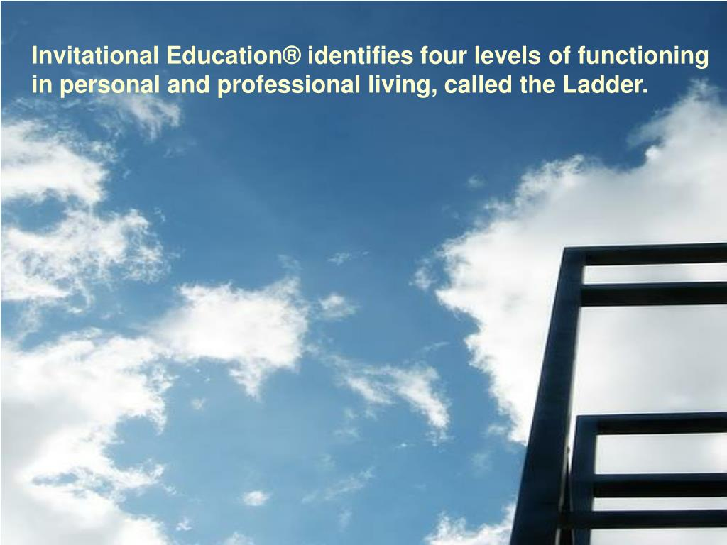 Invitational Education® identifies four levels of functioning in personal and professional living, called the Ladder.