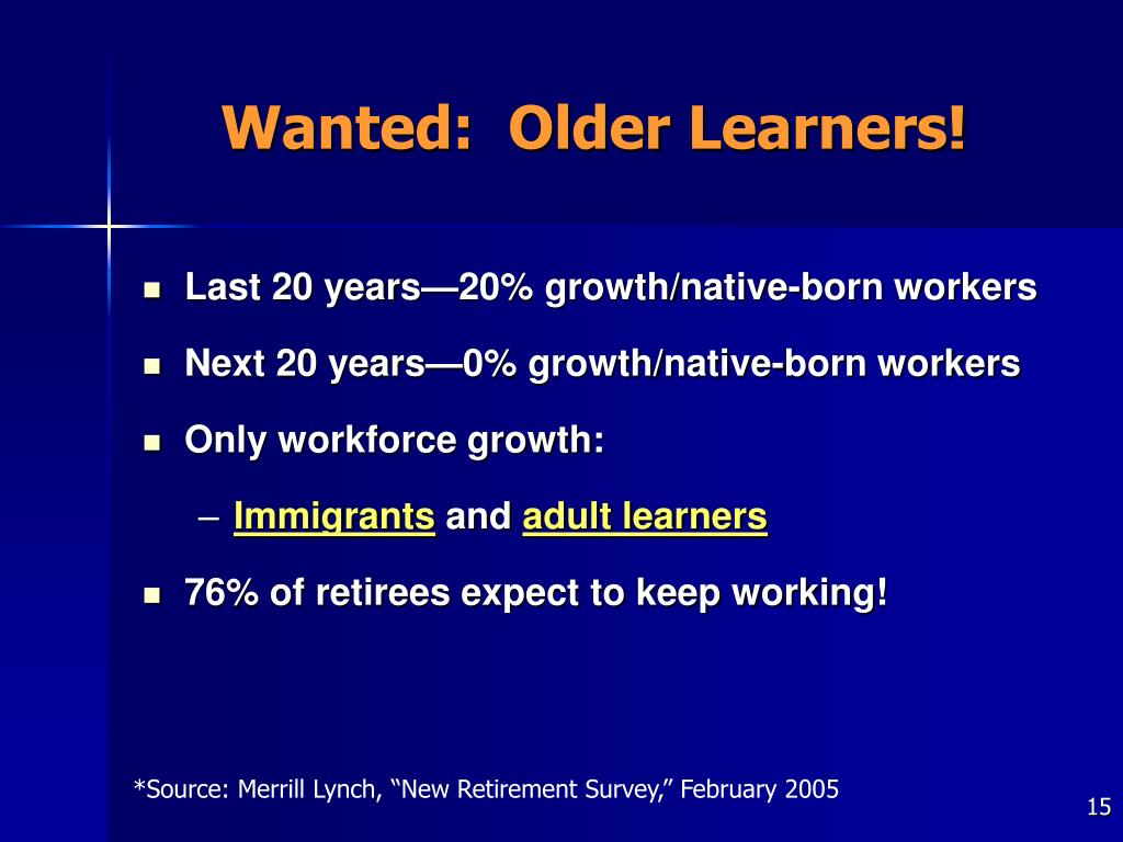 Wanted:  Older Learners!