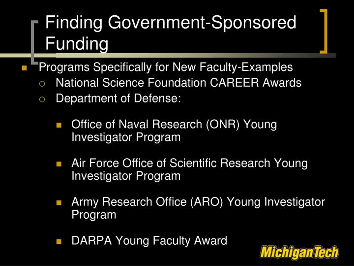 Finding Government-Sponsored Funding