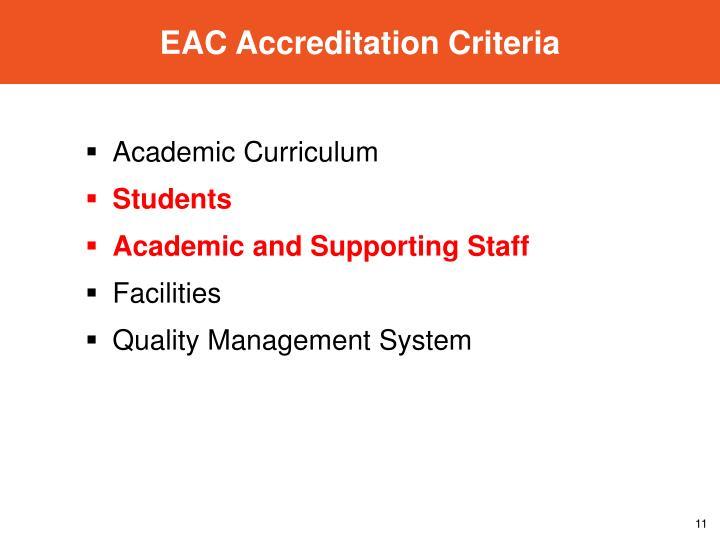 EAC Accreditation Criteria