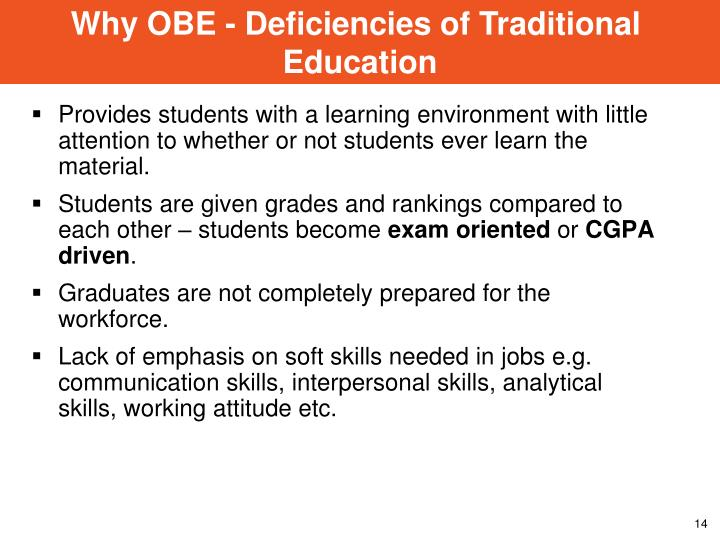 Why OBE - Deficiencies of Traditional
