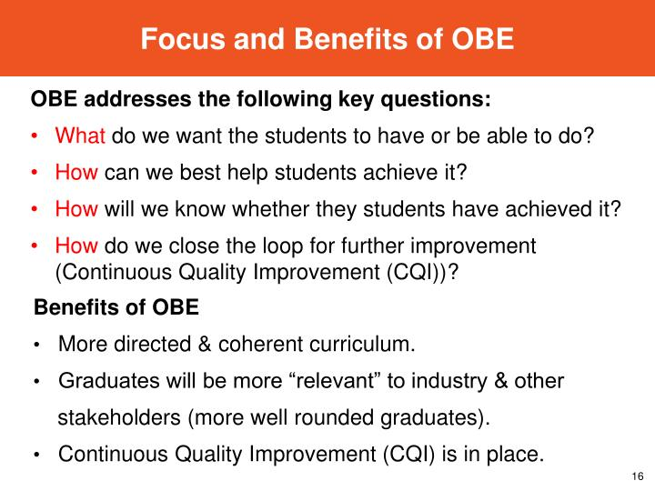 Focus and Benefits of OBE