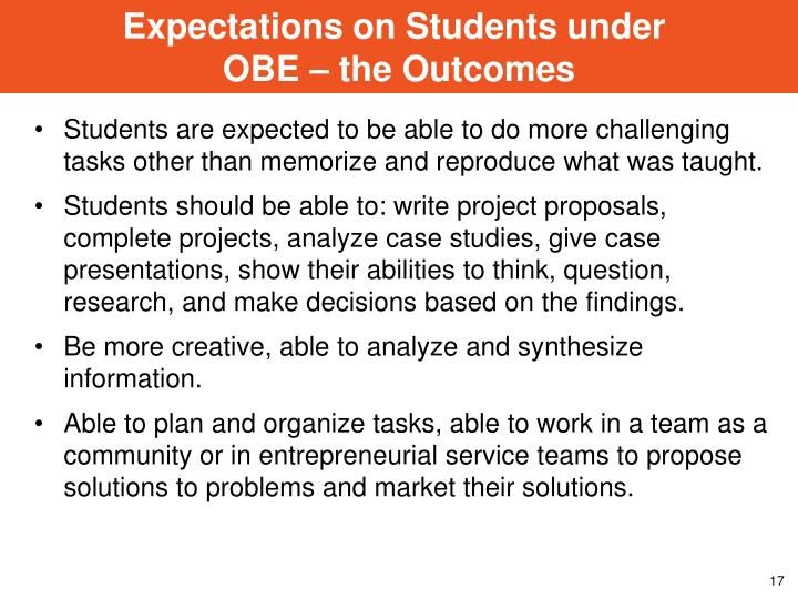 Expectations on Students under