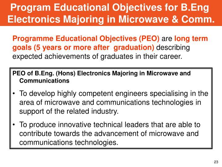 Program Educational Objectives for B.Eng