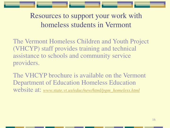 Resources to support your work with homeless students in Vermont
