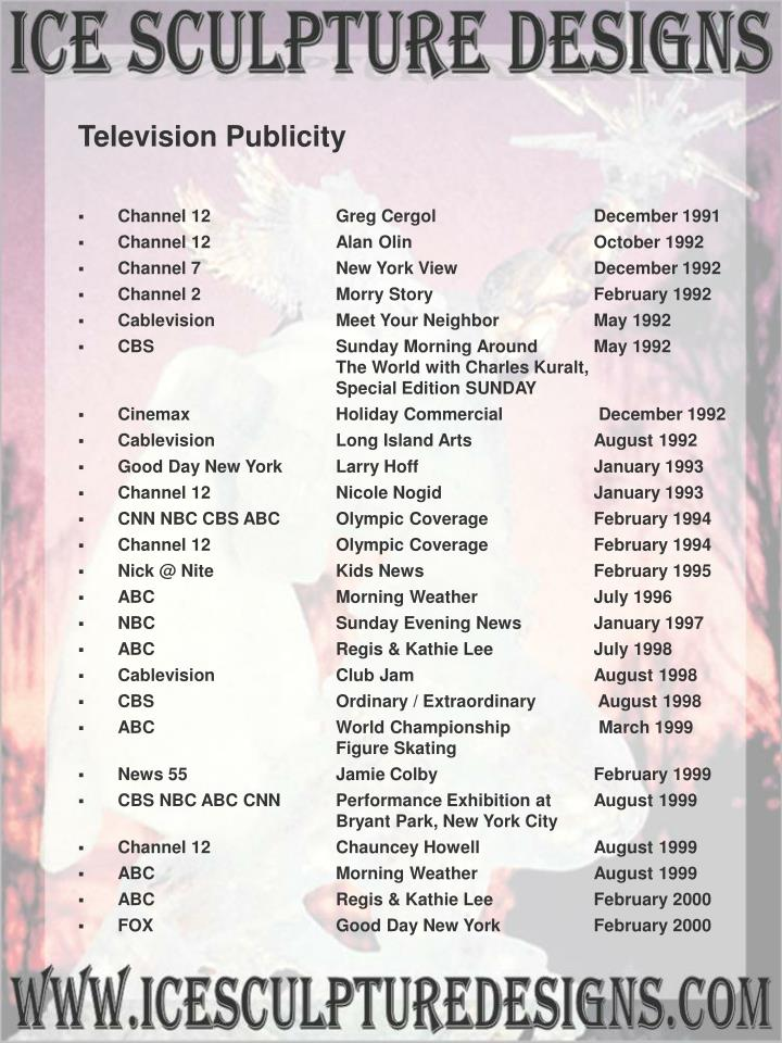 Television Publicity