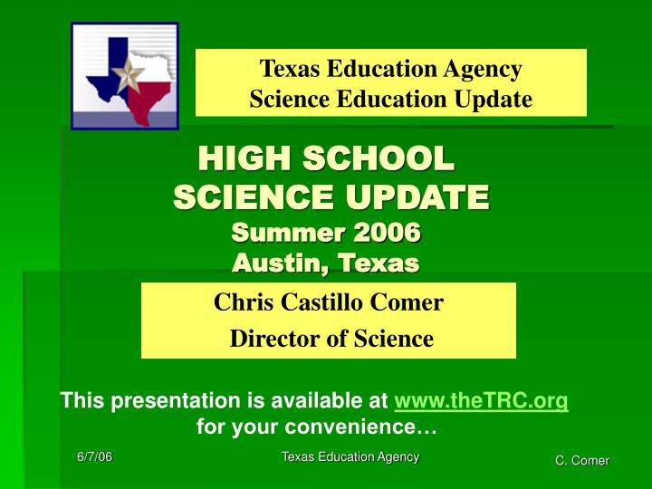 high school science update summer 2006 austin texas