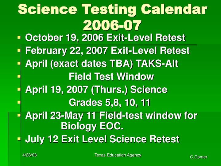 Science Testing Calendar