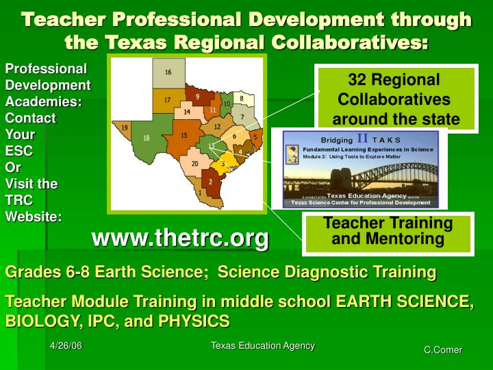 Teacher Professional Development through the Texas Regional Collaboratives: