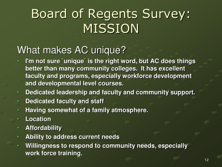 Board of Regents Survey: